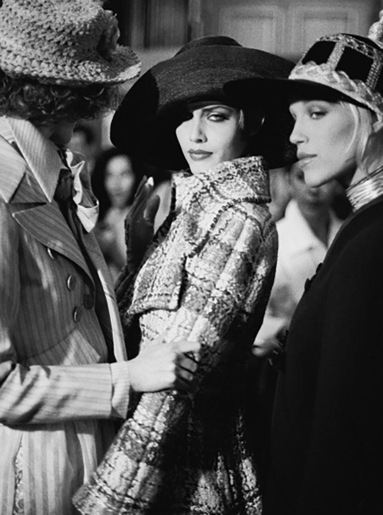 Haute Couture - Shalom Harlow backstage at Christian Lacroix - Photograph by Bruno Bisang