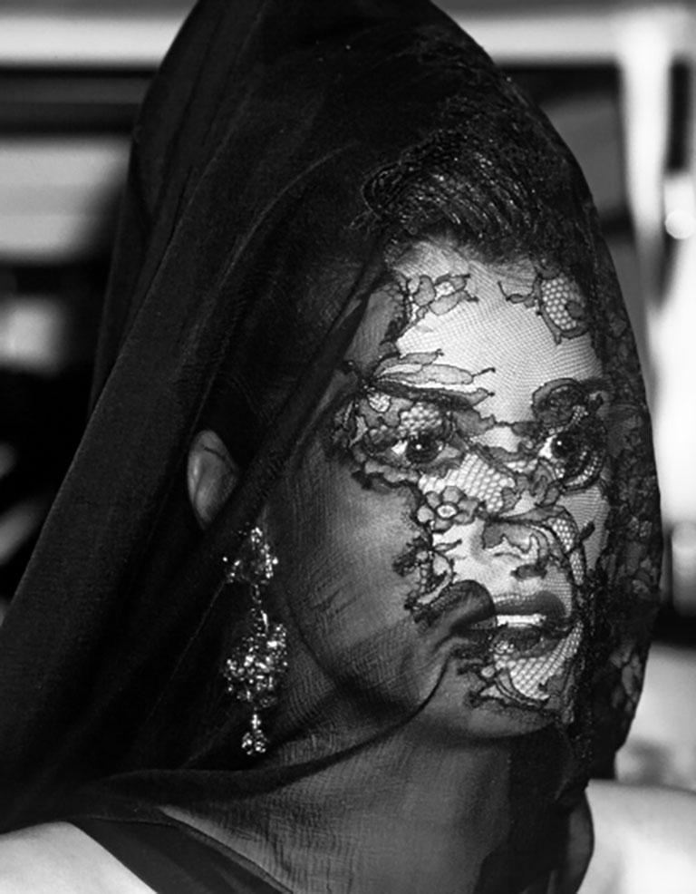 Haute Couture - Yasmeen Ghauri at Christian Lacroix - Black Black and White Photograph by Bruno Bisang