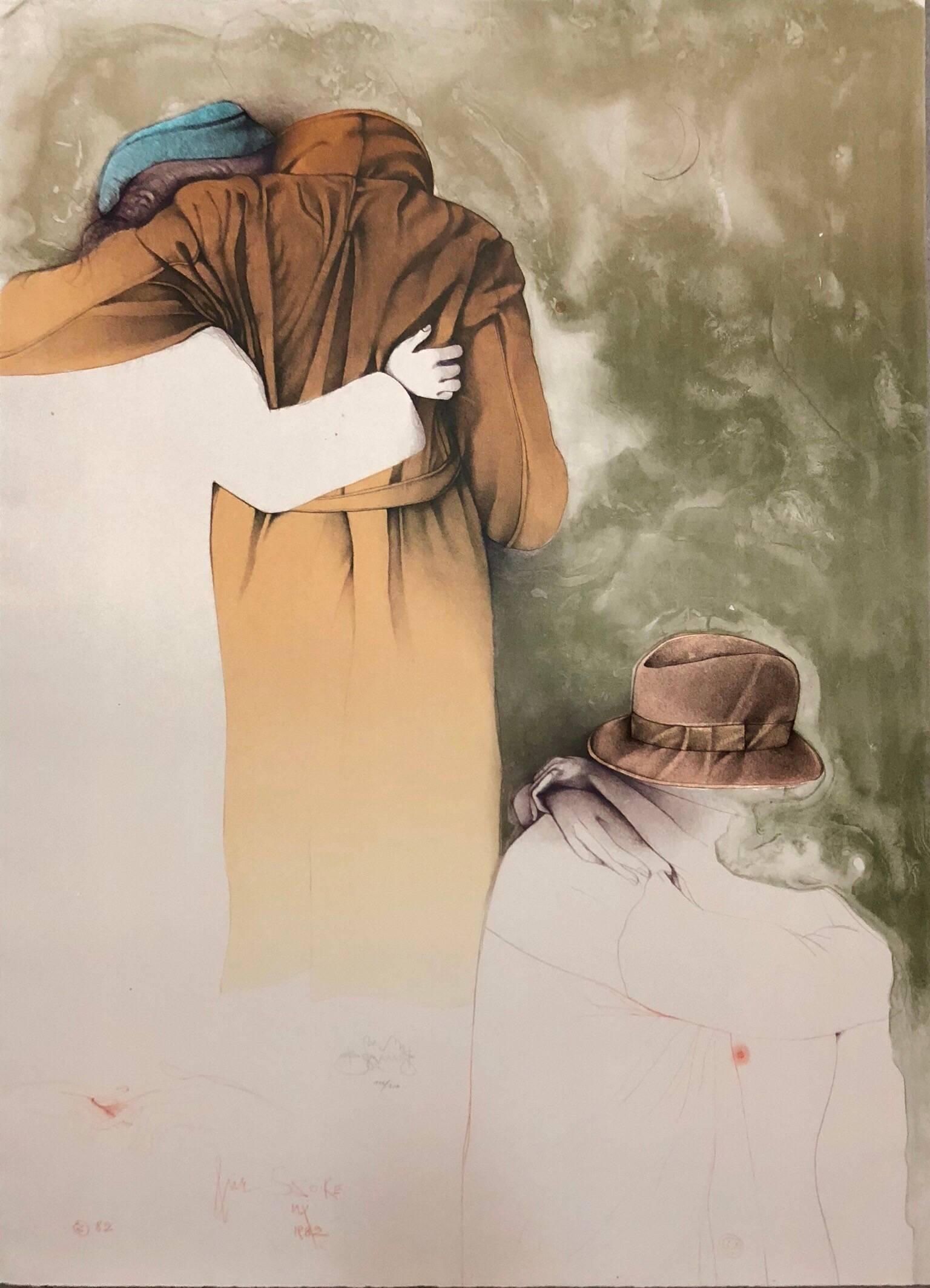 Al Quattro Large Surrealist Modernist Lithograph Embracing Couple