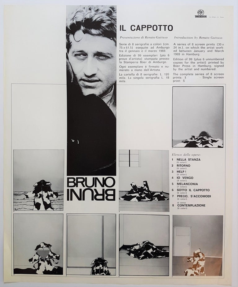 Bruno Bruni Il Cappotto Year: 1969 Color Offset Lithograph Size: 24 x 29.5 in. Signed in the stone  Bruno Bruni senior is an Italian lithographer, graphic artist, painter and sculptor. He became commercially successful in the 1970s. In 1977, he won