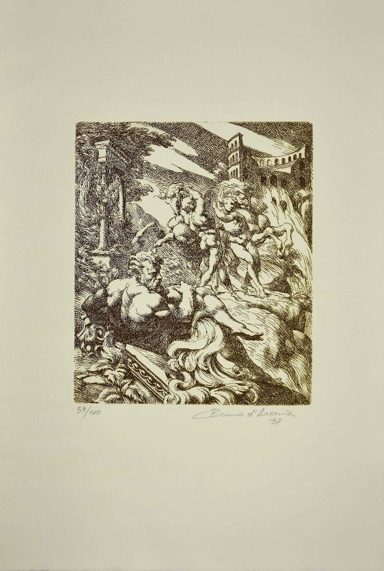 Mythologic Figures is an original etching artwork, realized by Bruno Bruni called Bruno d'Arcevia in 1997.  Hand-signed and dated on the lower right.  NUmbered. Edition 59/100.  The state of preservation is good.  The artwork represents Mythologic