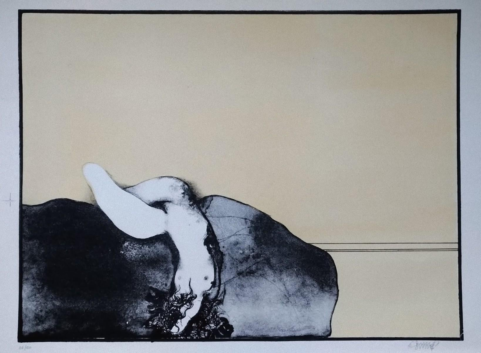 Nude - Original Lithograph by Bruno Bruni - 1968