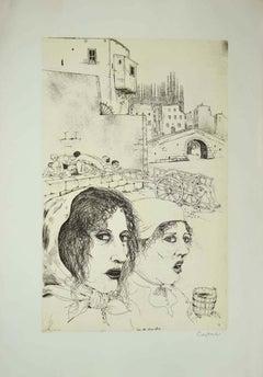 Storia della Colonna Infame - Original Etching by B. Caruso - Late 20th Century