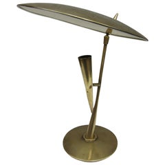 Bruno Chiarini Brass and White Lacquered Metal Midcentury Table Lamp, Italy 1950