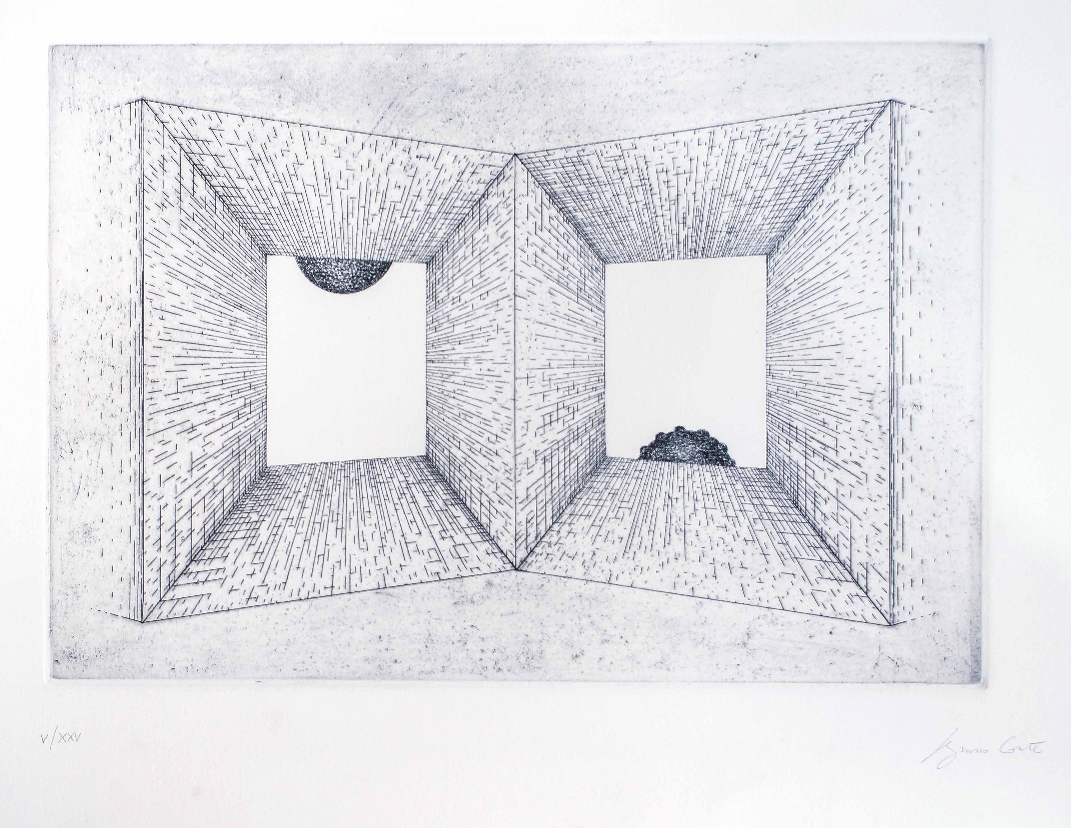 Perspective - Original Etching by Bruno Conte - 1980 ca.
