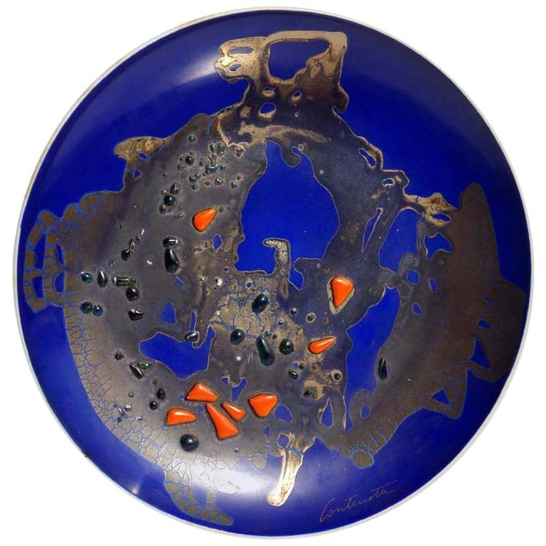Bruno Contenotte 1970 Sculpture Abstract Materic Pottery Plate For Sale