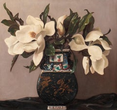 Vase with Flowers - Original Oil on Canvas by Bruno Croatto - 1895