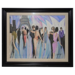 "Bruno Dutot Original Gouache ""Dancing in Paris"", circa 1980s"