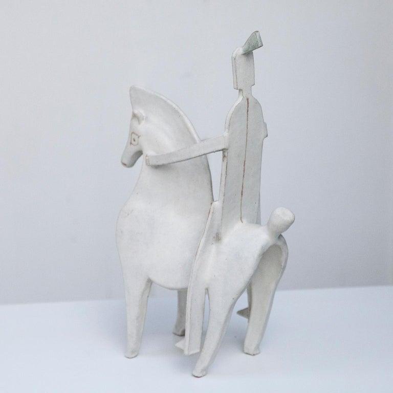 Mid-Century Modern Bruno Gambone Art Pottery Knight Sculpture, 1980s For Sale