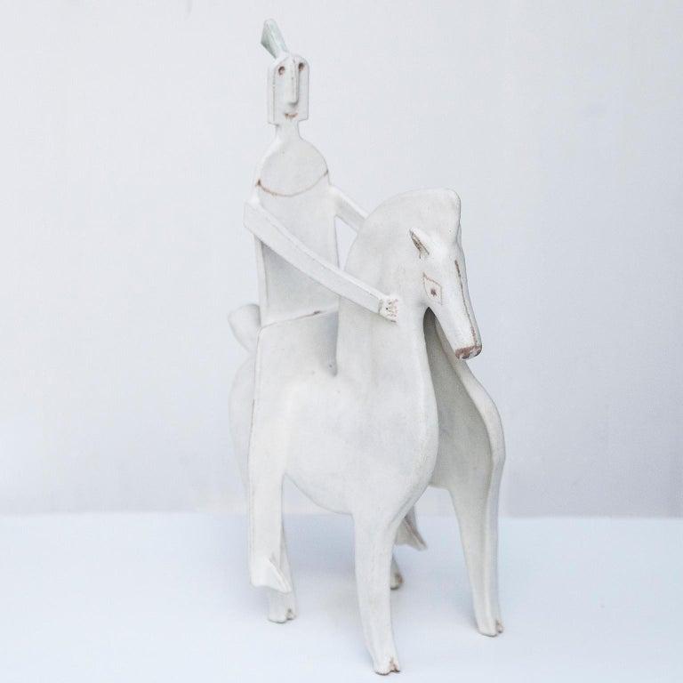 Italian Bruno Gambone Art Pottery Knight Sculpture, 1980s For Sale