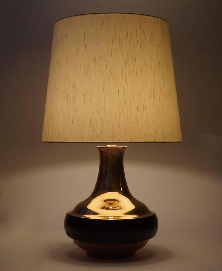 Hollywood Regency Bruno Gambone Brass Gilded Table Lamp For Sale
