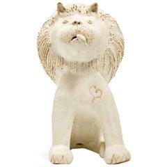 """Bruno Gambone Ceramic """"Seated Lion"""" Sculpture, 1990s"""