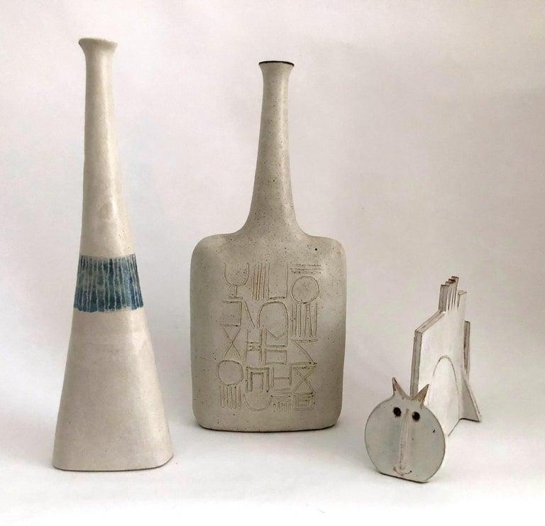 Engraved Bruno Gambone Ceramic Vase, 1970s For Sale