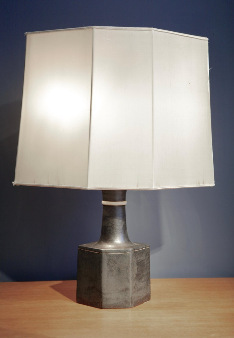 Mid-Century Modern Bruno Gambone, Dark Glazed Ceramic Table-Lamp, Italy, 1960s For Sale