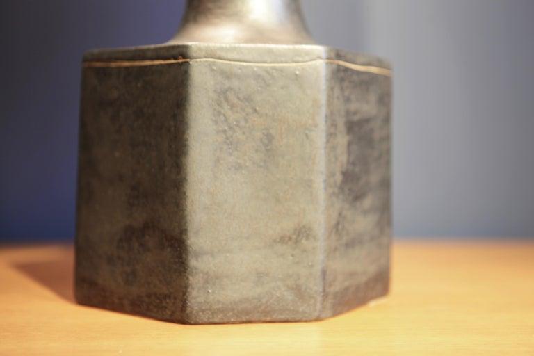 Mid-20th Century Bruno Gambone, Dark Glazed Ceramic Table-Lamp, Italy, 1960s For Sale