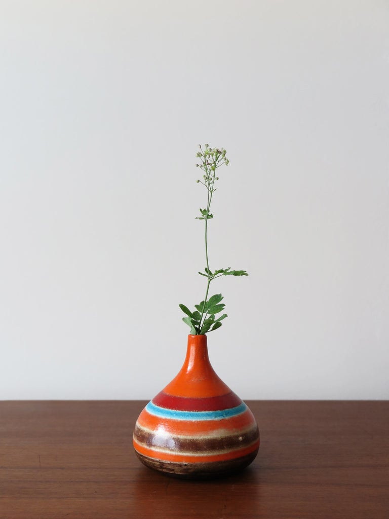Italian Mid-Century Modern design ceramic vase designed by famous artist Bruno Gambone, signing Gambone Italy under the base, 1960s  Please note that the item is original of the period and this shows normal signs of age and use.
