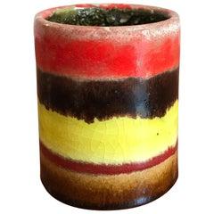 Bruno Gambone Italian Multi-Color Ceramic Vase, 1960s