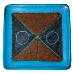 Bruno Gambone Italy Blue Abstract Decoration Ceramic Plate, circa 1960