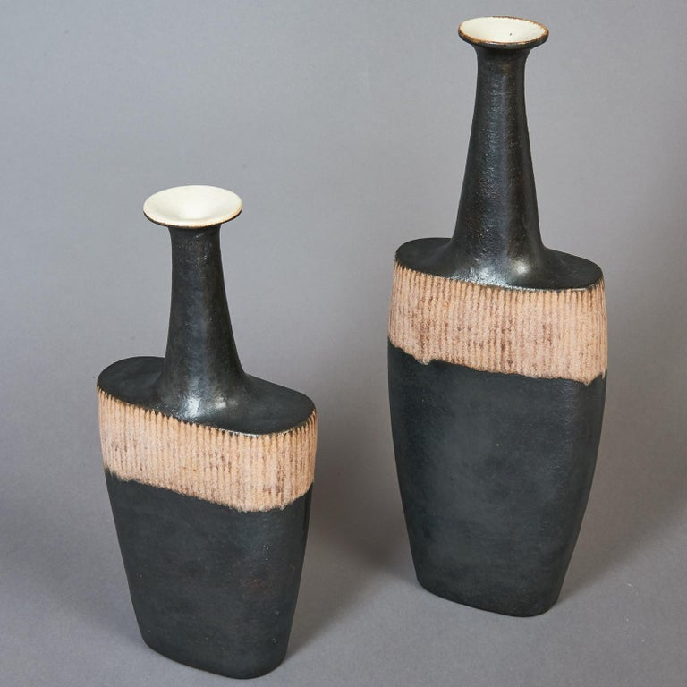 Mid-Century Modern Bruno Gambone Pair of Black Long Neck Vessels, circa 1980 For Sale