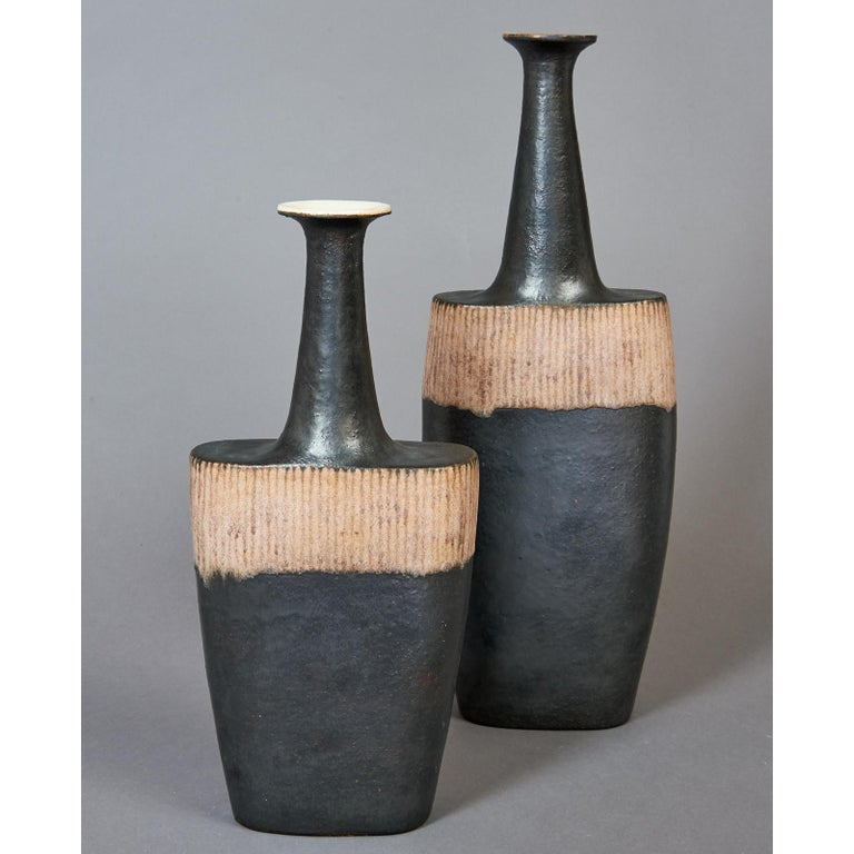 Italian Bruno Gambone Pair of Black Long Neck Vessels, circa 1980 For Sale