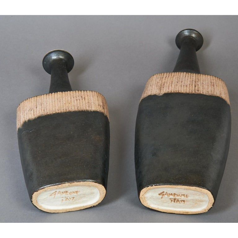 Bruno Gambone Pair of Black Long Neck Vessels, circa 1980 In Excellent Condition For Sale In New York, NY