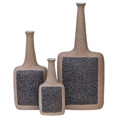 Bruno Gambone Raw Stoneware Relief Vases