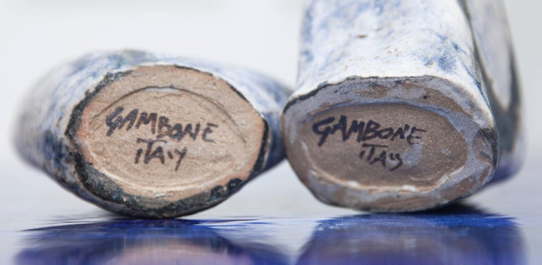Bruno Gambone Stoneware Vase Blue, 1984, Set of Four For Sale 3