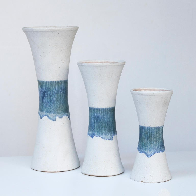 Mid-Century Modern Bruno Gambone Stoneware White Blue Vase Set For Sale