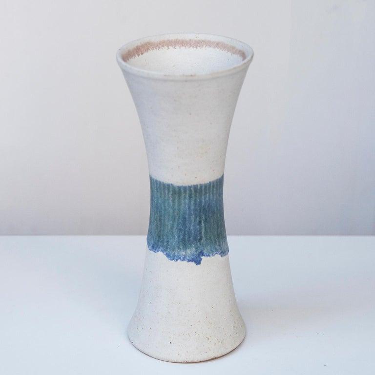 Bruno Gambone Stoneware White Blue Vase Set In Excellent Condition For Sale In Munich, DE