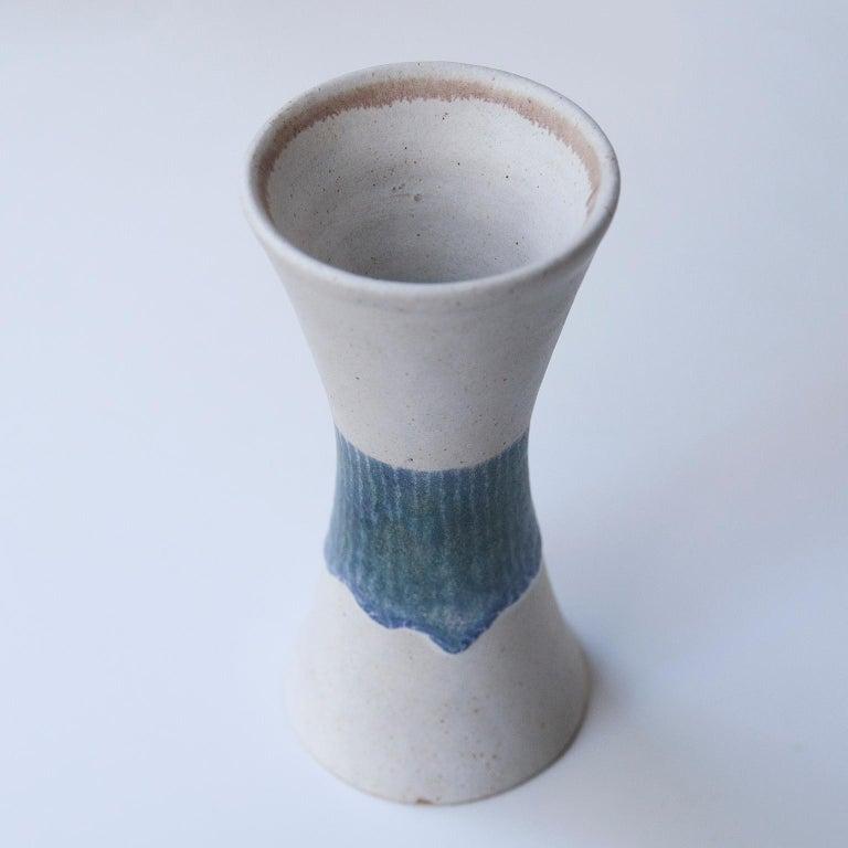 Late 20th Century Bruno Gambone Stoneware White Blue Vase Set For Sale