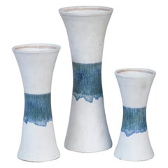 Bruno Gambone Stoneware White Blue Vase Set