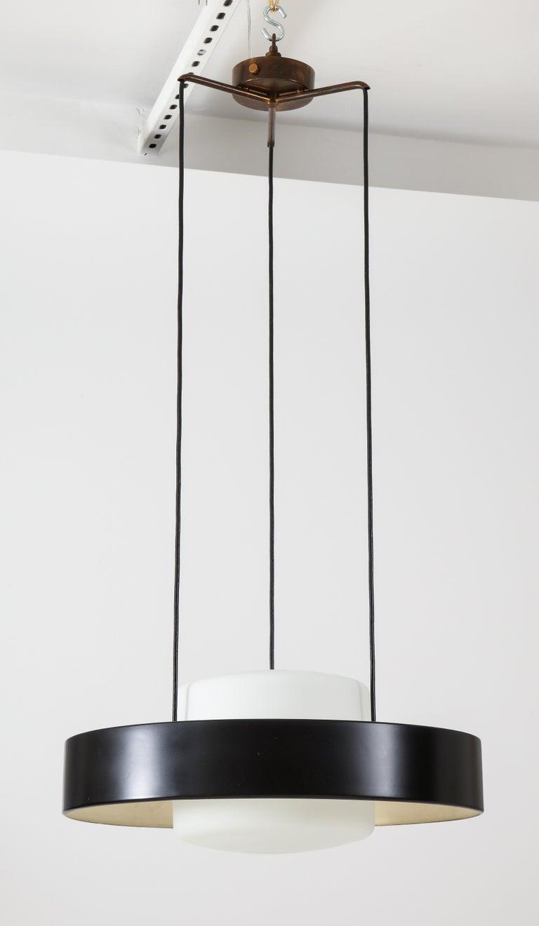 Enameled Bruno Gatta for Stilnovo Chandelier Model 1158 For Sale