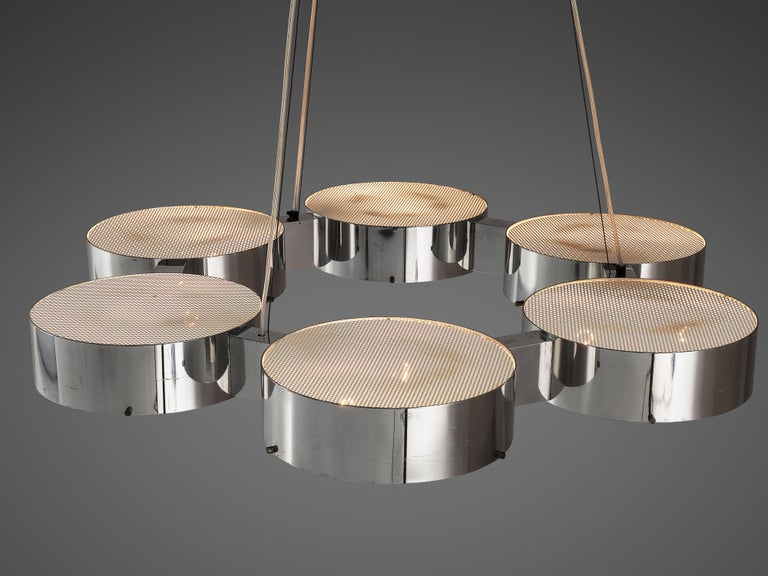 Bruno Gatta for Stilnovo Chandlier in Aluminum and Glass For Sale 4