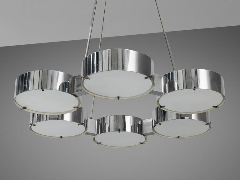Bruno Gatta for Stilnovo Chandlier in Aluminum and Glass For Sale 5