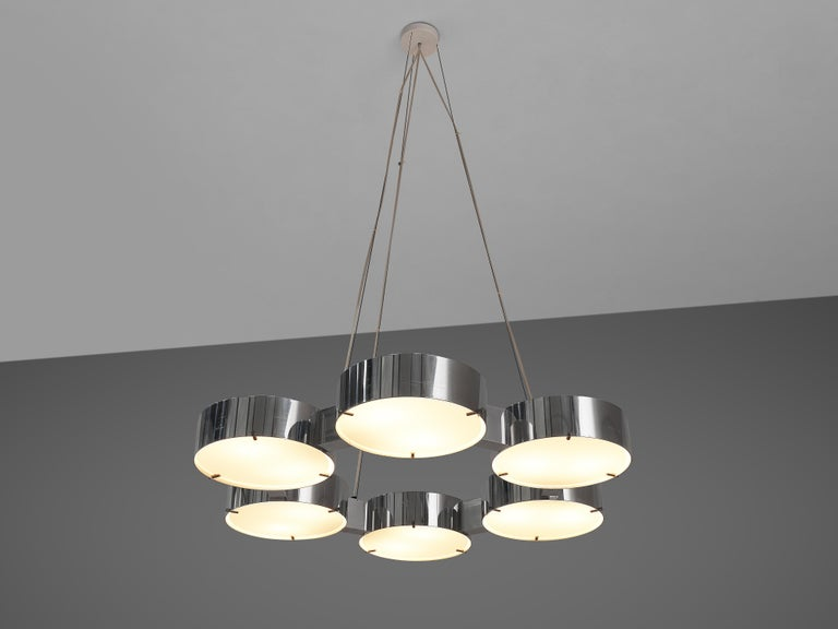 Bruno Gatta for Stilnovo, chandelier, aluminum, glass, Italy, 1960s  Admirable Italian chandelier by Italian manufacturer Stilnovo and designed by Bruno Gatta. The graceful chandelier consists of six elegant cilindric shaped shades created out of