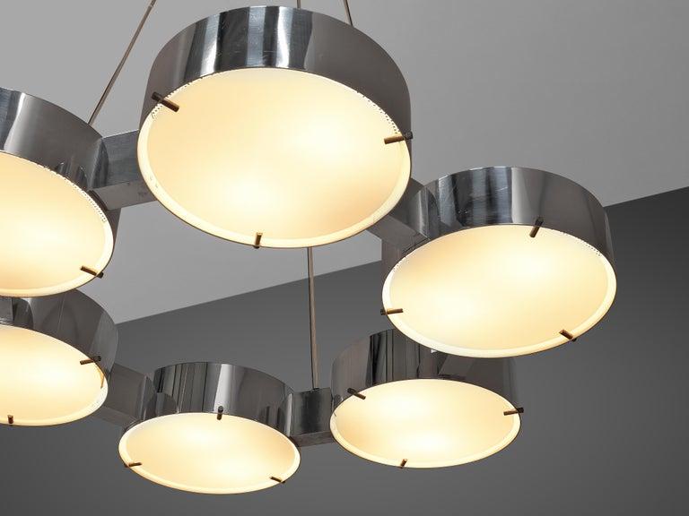Mid-Century Modern Bruno Gatta for Stilnovo Chandlier in Aluminum and Glass For Sale