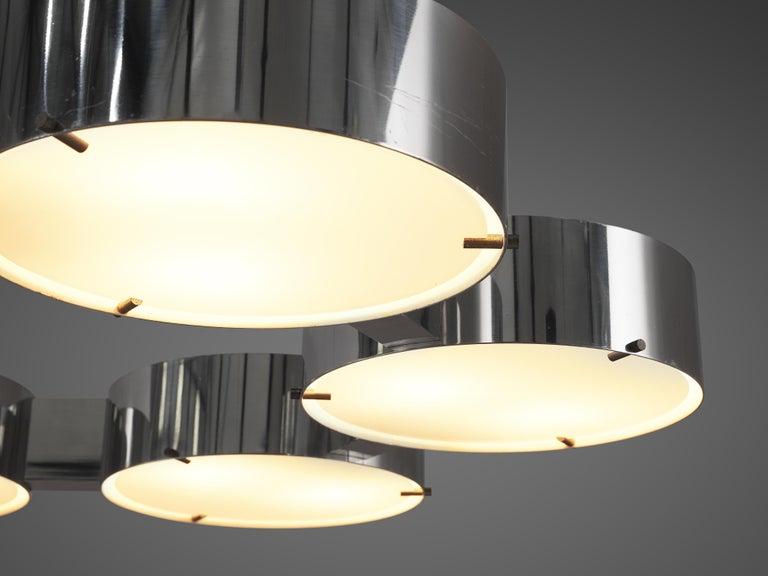 Italian Bruno Gatta for Stilnovo Chandlier in Aluminum and Glass For Sale