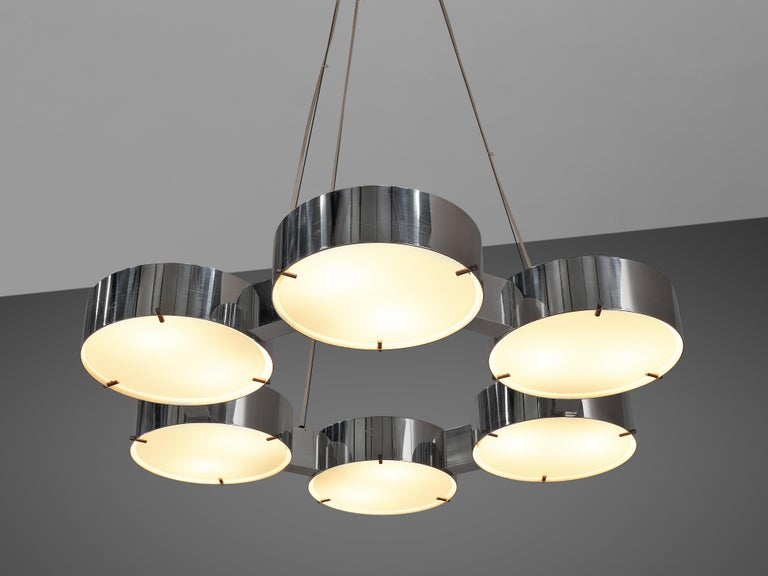 Bruno Gatta for Stilnovo Chandlier in Aluminum and Glass In Good Condition For Sale In Waalwijk, NL