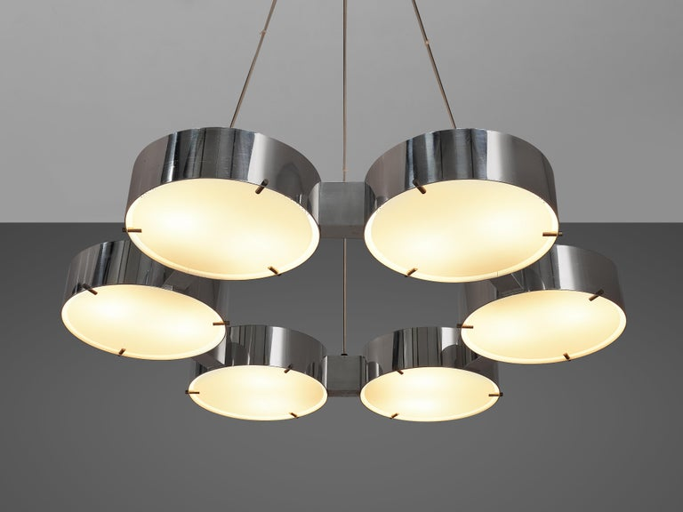 Bruno Gatta for Stilnovo Chandlier in Aluminum and Glass For Sale 1
