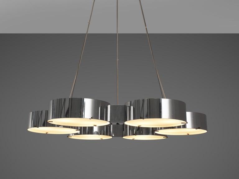 Bruno Gatta for Stilnovo Chandlier in Aluminum and Glass For Sale 3