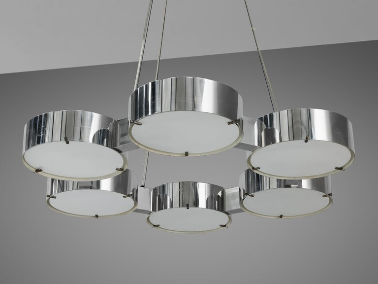 Bruno Gatta for Stilnovo Chandliers in Aluminum and Glass For Sale 6