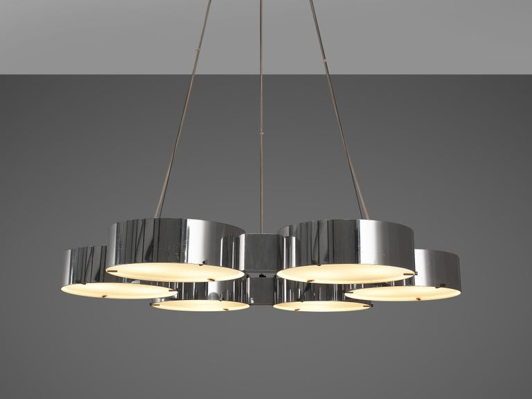 Bruno Gatta for Stilnovo Chandliers in Aluminum and Glass For Sale 2