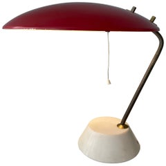 Bruno Gatta Stilnovo Mod 8023 Red Lacquered Aluminium Table Lamp, Italy, 1960