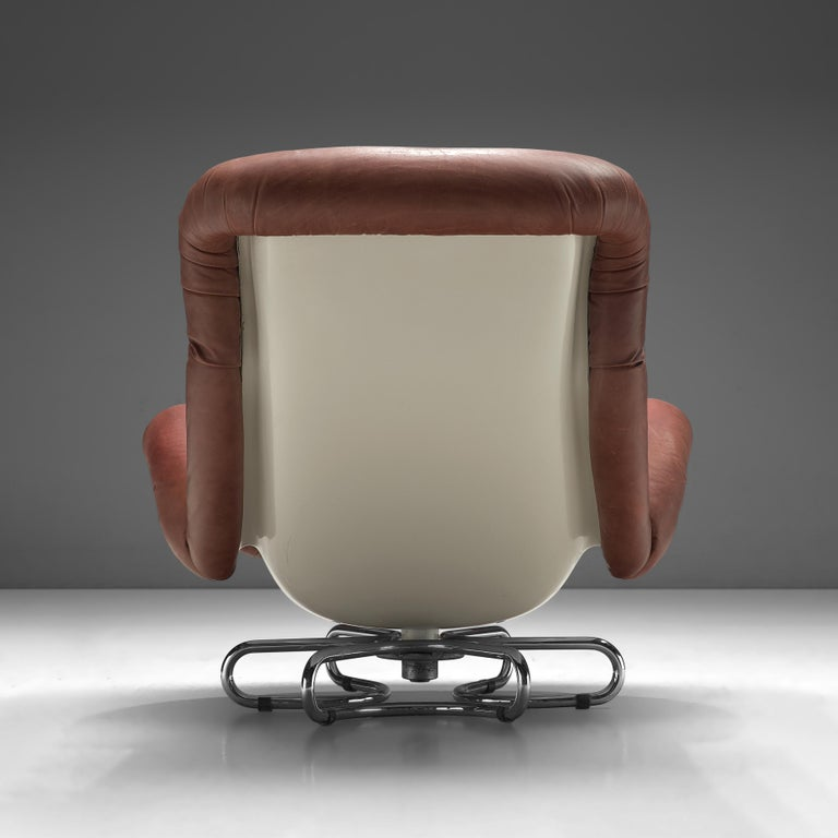 Mid-Century Modern Bruno Gecchelin for Busnelli Lounge Chair and Ottoman in Red Leather For Sale