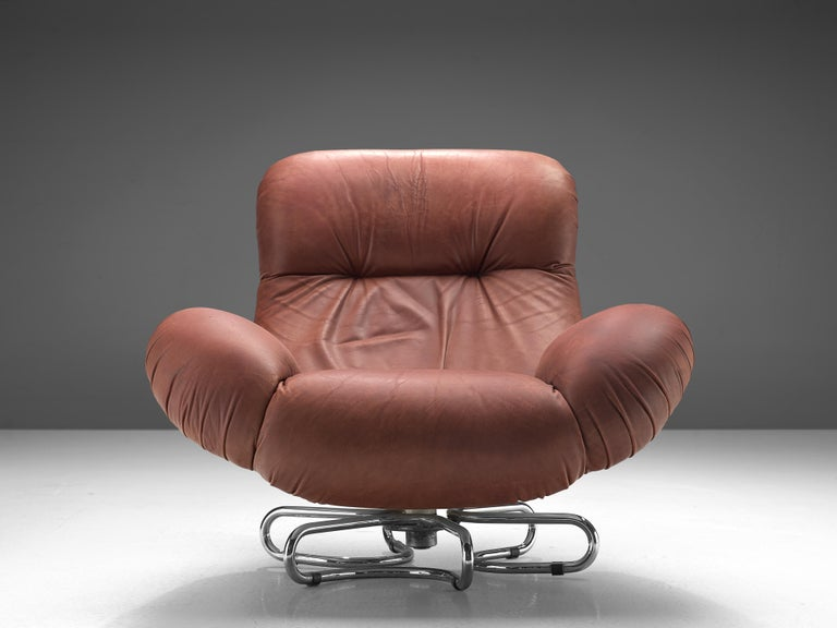 Bruno Gecchelin for Busnelli Lounge Chair and Ottoman in Red Leather In Good Condition For Sale In Waalwijk, NL