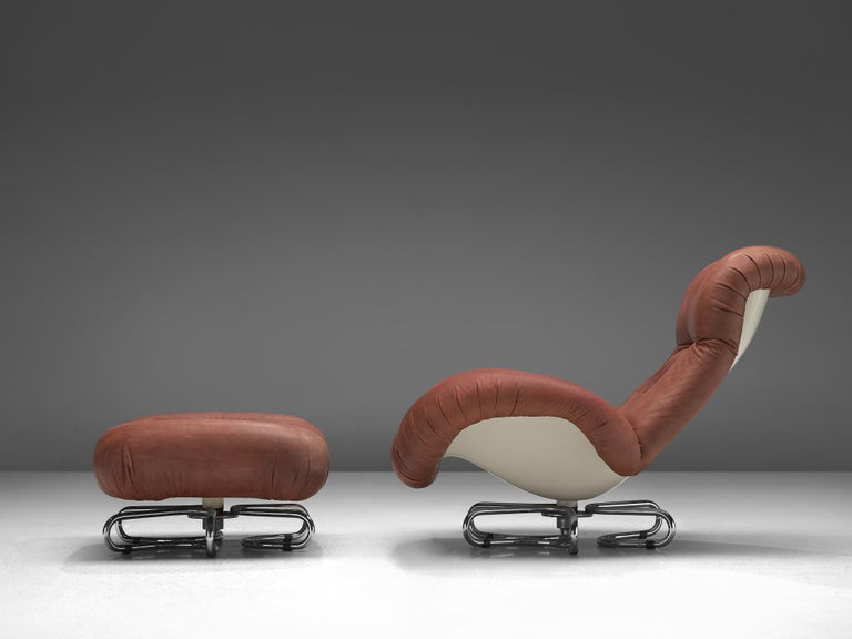 Late 20th Century Bruno Gecchelin for Busnelli Lounge Chair and Ottoman in Red Leather For Sale