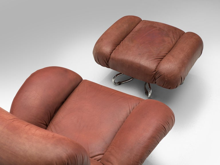 Bruno Gecchelin for Busnelli Lounge Chair and Ottoman in Red Leather For Sale 2