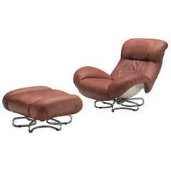 Bruno Gecchelin for Busnelli Lounge Chair and Ottoman in Red Leather