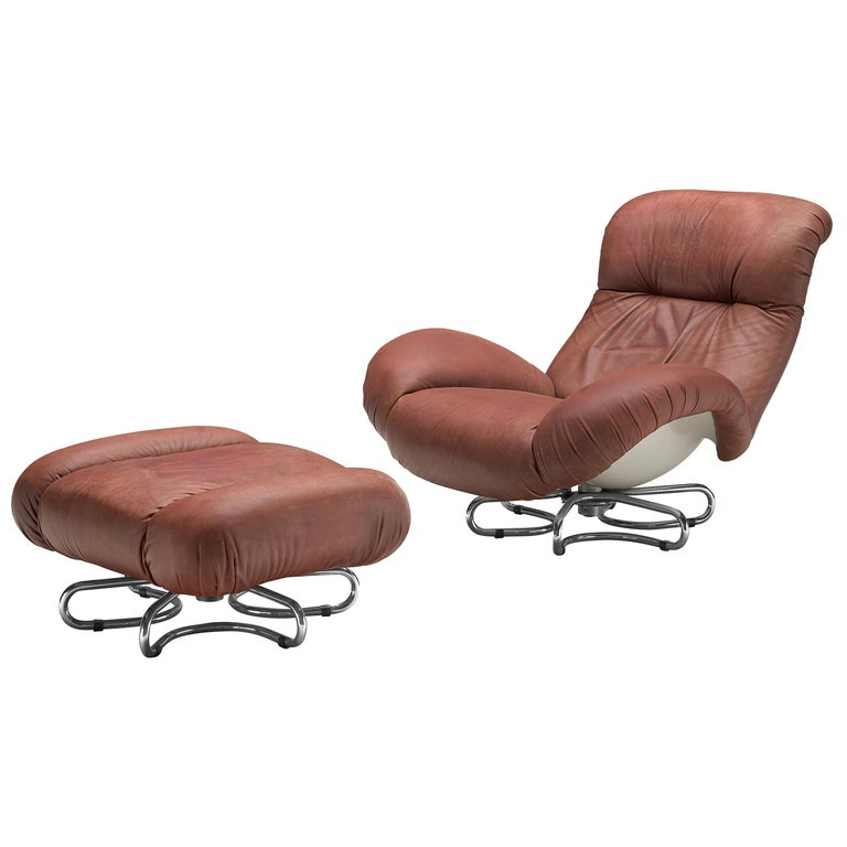 Bruno Gecchelin for Busnelli Lounge Chair and Ottoman in Red Leather For Sale