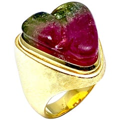 Bruno Guidi 13.68 Custom Cut Watermelon Tourmaline and 18 Karat Yellow Gold Ring